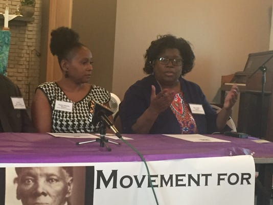 The Rev. Judith Davis (right) at a news conference of the Movement for Anti-Racist Ministry and Action