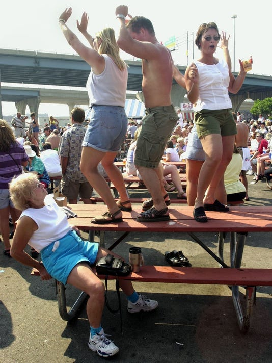 Dancing on table at Summerfest
