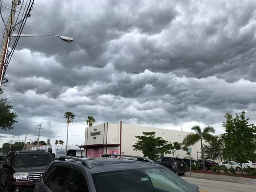 Low storm clouds loom over Downtown Vero Beach.