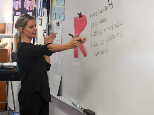 An Iowa teacher leads a fifth grade class.