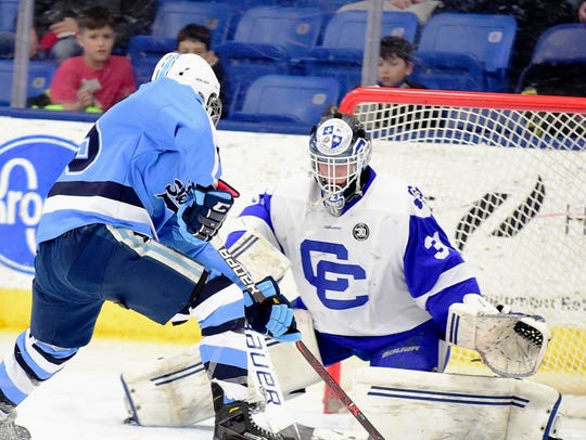 Catholic Central goalie Zach Allen denies Stevenson's
