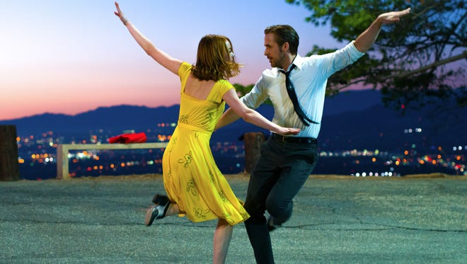 """Ryan Gosling and Emma Stone in a scene from, """"La La Land."""" The movie about the movies captured a record-tying 14 Oscar nominations."""