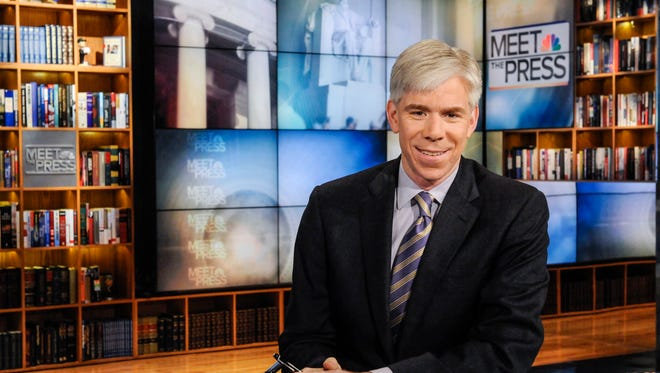 """This Feb. 24, 2013 photo released by NBC News shows moderator David Gregory on the set of """"Meet the Press,"""" in Washington. NBC News President Deborah Turness said in a memo to the Sunday morning public affairs program staff members that she supports Gregory """"now and into the future."""" Once the dominant Sunday morning program, """"Meet the Press"""" has sunk behind competing shows by CBS and ABC in the ratings.  (AP Photo/NBC, William B.  Plowman)"""