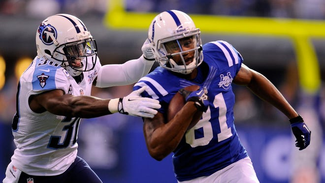 Colts wide receiver Darrius Heyward-Bey speeds past Titans cornerback Jason McCourty last December in Indianapolis, where the Colts won 22-14.