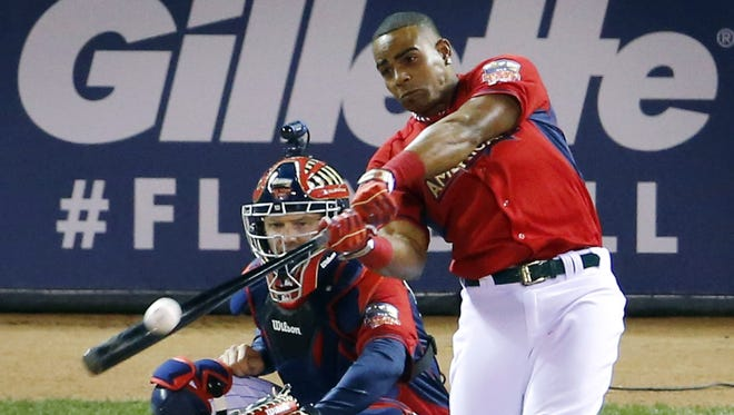American League's Yoenis Cespedes, of the Oakland Athletics, hits during the final round of the MLB All-Star Game Home Run Derby on Monday in Minneapolis.