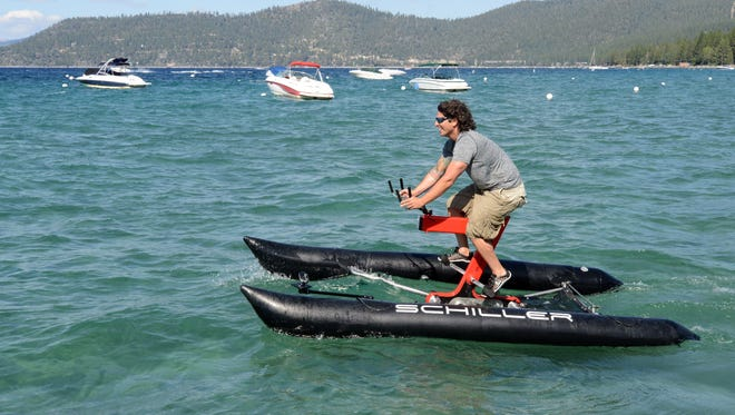 Judah Schiller on his new water bike on the waters of Lake Tahoe Thursday Aug 14, 2104.