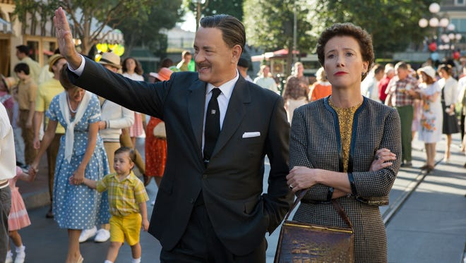 Tom Hanks as Walt Disney, left, and Emma Thompson as author P.L. Travers in 'Saving Mr. Banks.'