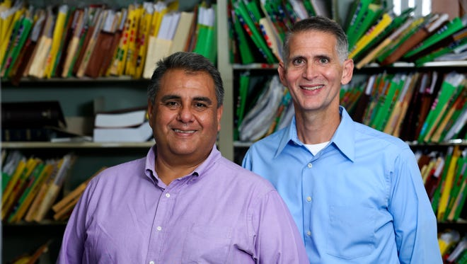 Greg Bourke, right, and Michael Deleon filed a federal lawsuit asking for Kentucky to recognize same sex marriages.