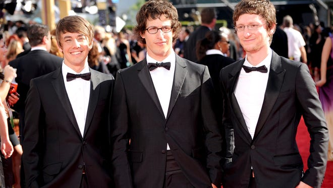 Comedians Jorma Taccone, left, Andy Samberg and Akiva Schaffer of The Lonely Island arrive at the 2009 Emmy Awards in Los Angeles.