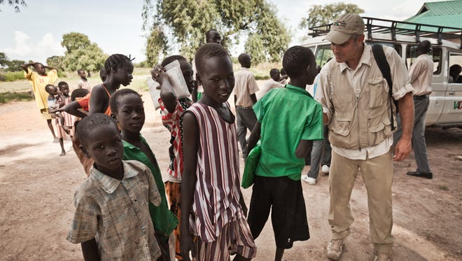 George Clooney during a trip to the Sudan in 2010.