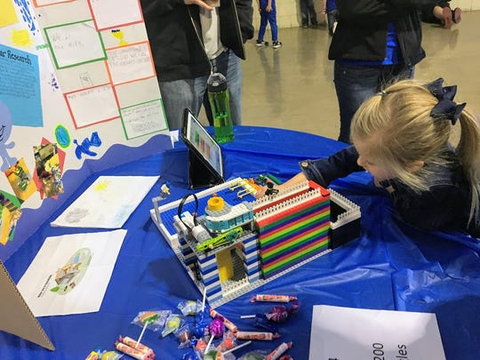 A FIRST LEGO Jr. team member participates in the second annual Alamogordo FIRST LEGO League qualifier and FIRST LEGO League Jr. Expo Saturday, Jan. 13.