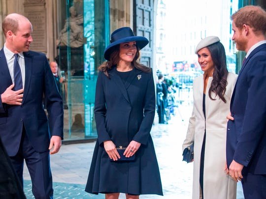 Prince William, Duchess Kate, Meghan Markle and Prince Harry at Westminster Abbey on March 12, 2018.