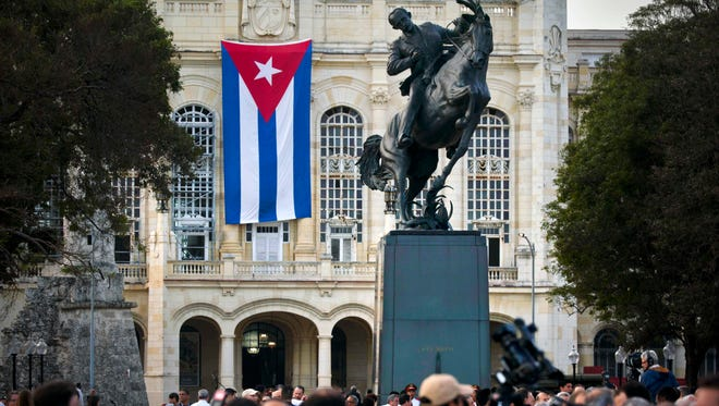 People attend a ceremony to unveil a replica of a New York statue of Cuba's independence hero Jose Marti in Havana on Jan. 28, 2018.