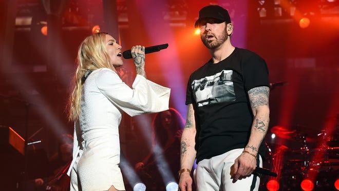 Skylar Grey and Eminem perform at Coachella on April 15.