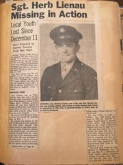A Desert Sun story reporting local vet Herb Lienau missing in action. The clippings were collected in a scrapbook by Gene Morgan's mom Ferol Morgan during World War II.