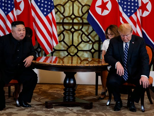 President Donald Trump meets North Korean leader Kim Jong Un, Feb. 28, 2019, in Hanoi, Vietnam.  President Trump abruptly ended a long-planned summit with North Korea's Kim Jong Un on Thursday, acknowledging the two leaders did not reach an agreement that accomplished the U.S. goal of denuclearizing the Korean Peninsula.