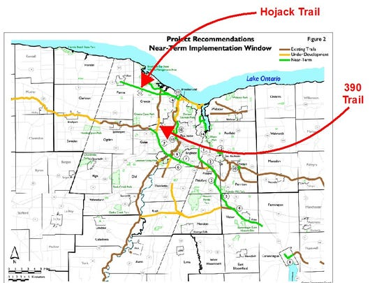 A rendering of the proposed Hojack trail in Hilton, Parma and Greece and some of the other interconnected trail systems in the region.