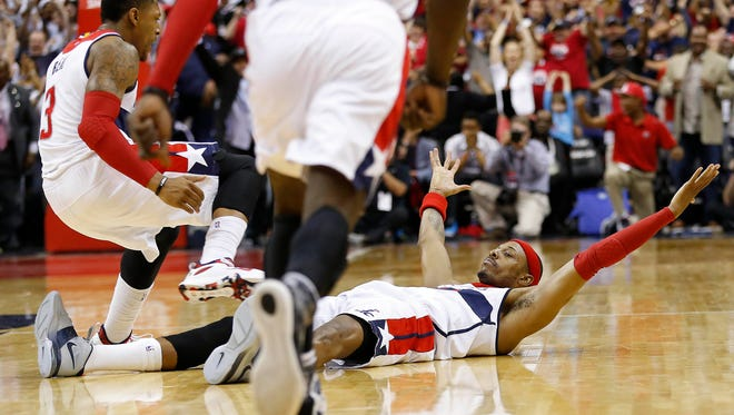 Washington Wizards forward Paul Pierce (34) celebrates after hitting the game winning shot at the end of Game 3 vs. the Atlanta Hawks.