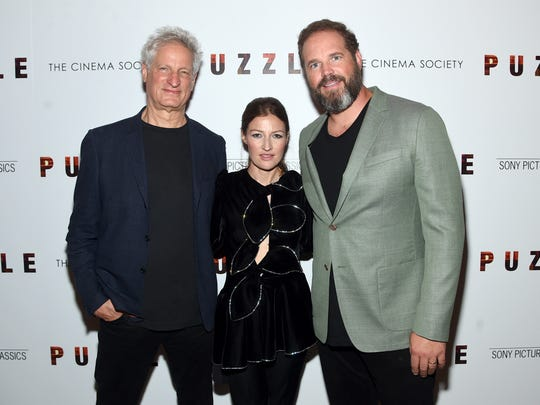 """Director Marc Turtletaub, left, and actors Kelly Macdonald and David Denman attend the """"Puzzle"""" New York screening at The Roxy Cinema on July 24, 2018 in New York City."""