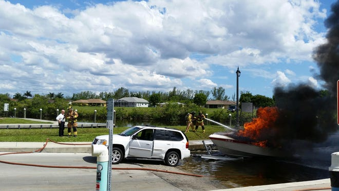 A boat caught fire at Rosen Park Marina Wednesday afternoon.
