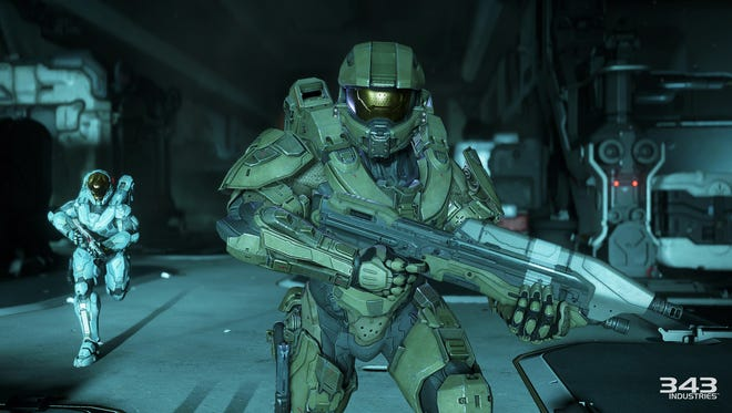 "A screen shot from the video game ""Halo 5: Guardians,"" shows main character the Master Chief."