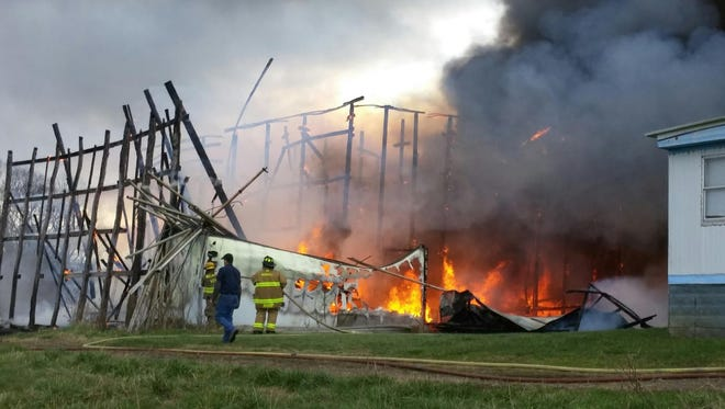 A large fire destroyed a barn in Madison County Saturday.