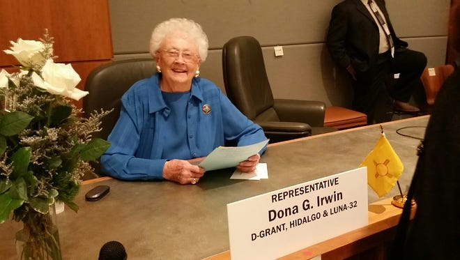 Dona Irwin (D-Deming) settles into her seat at the capital in Santa Fe for the first day of the 2016 New Mexico Legislative Session. Irwin represents Luna, Hidalgo and Grant counties as State Representative for New Mexico's District 32. She is entering her 17th year in the session and was elected to her seat back in 1999.