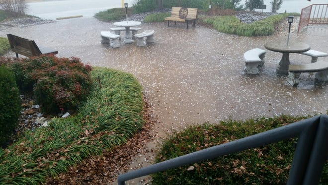 Near quarter-size hail fell from the sky Wednesday afternoon at the Sun.