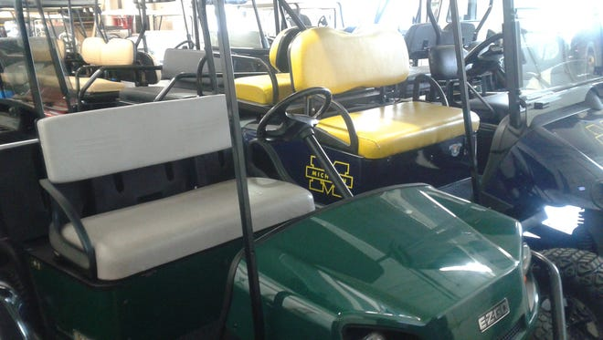 Used golf carts are ready for sale at Michigan Golf Cart in Warren. The company also sells new carts.