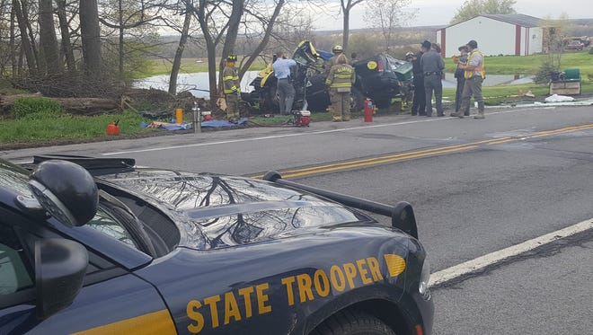 State troopers on scene at a fatal one-vehicle crash in Alabama, Genesee County, Tuesday afternoon.