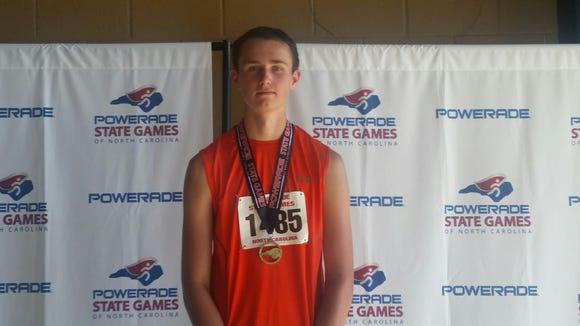 Mountain Heritage freshman Justus Shelton won the javelin