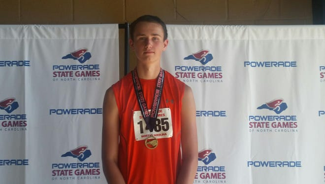 Mountain Heritage freshman Justus Shelton won the javelin and placed in two other events at Saturday's State Games of North Carolina track meet.