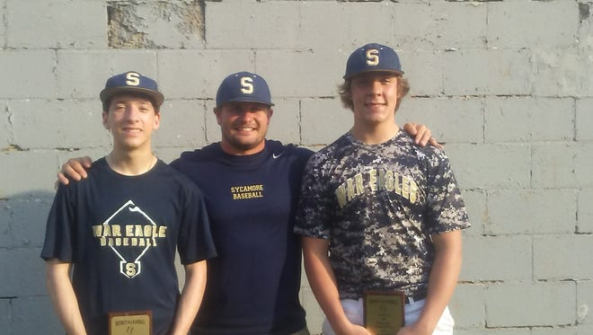 Pictured from left are John Jolley, Coach Daniel Smiley and Noah Jolley
