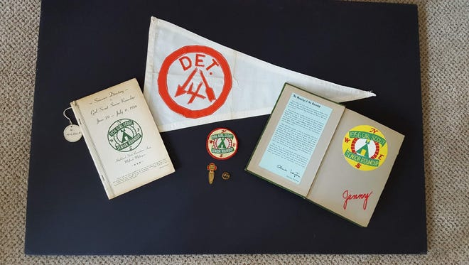 Eleanor McLellan Roleston of Rochester Hills was a member of the Detroit Broken Arrow Four group at the 1956 Girl Scout Senior Roundup. She saved this memorabilia from the event.