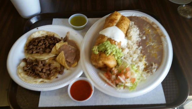 The chimichanga plate, served with rice and beans, and a side order of asada tacos at Sanchez Mexican Food in St. George.
