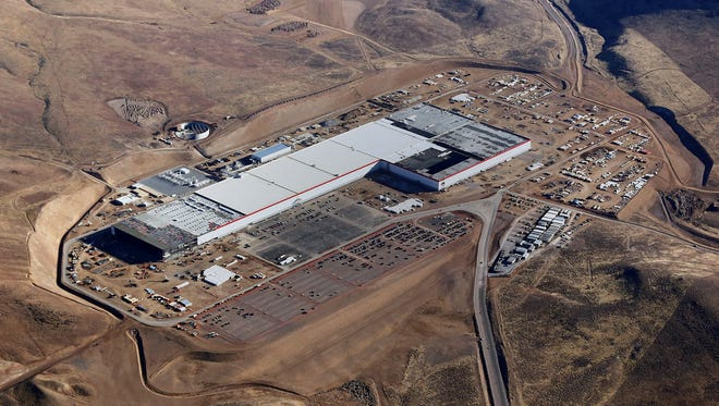 A handout photo made available by Tesla Motors on July 3, 2017 shows an aerial view of Tesla Gigafactory in Sparks, Nevada.