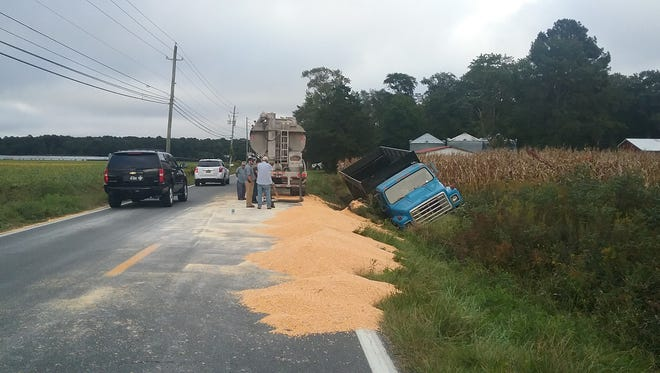 A truck carrying corn overturned on Bishopville Road near St. John's A.M.E. Church and Perkins Creek on Monday, Sept. 25, blocking one lane of traffic for several hours.