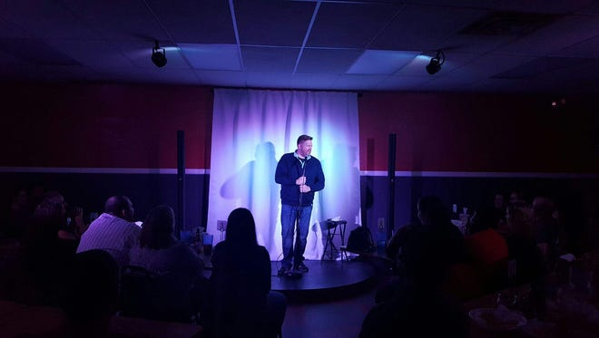 Comedian Tom Chillstrom performs at the new Boss' Comedy Club in Sioux Falls on Saturday, Oct. 7.