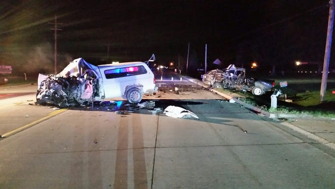 Two men were injured in a head-on crash on Gratiot Road in Chesterfield Township