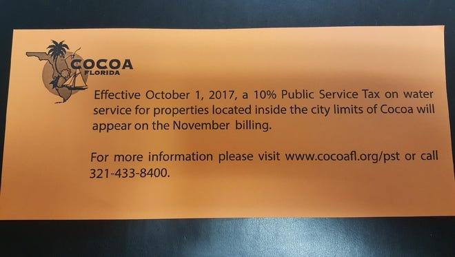 Cocoa water customers will see a 10 percent public service fee tacked onto their bills, starting with their November bill.