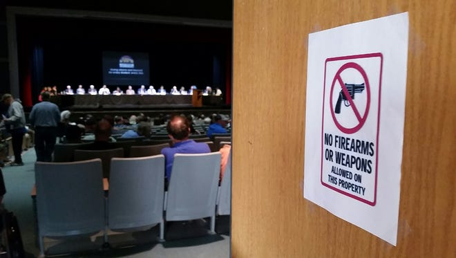 Weapons weren't allowed in a joint meeting of the Las Cruces Public Schools and Las City Council City that took place Wednesday, May 2, 2018 at Oñate High School in Las Cruces.