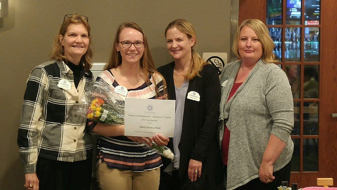 Manitowoc Chapter of Women in Management, Inc., recently presented its Professional Woman of the Year Award to attorney Alison Petri and its annual scholarship to April Eisenschink. Pictured, from left: Anne Juza, Awards & Scholarship chairman; Eisenschink; Petri; and RaeAnn Thomas, Scholarship Selection Committee member.