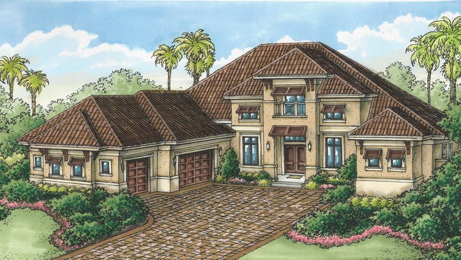 Stock's Regency Manor model, which is under construction, will overlook the 8th hole of the community's Lakes Course.