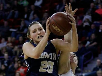 De Pere High School's Lexi Cerrato loses a rebound to Appleton North High School's Sydney Levy during their WIAA Division 1 State Tournament girls basketball championship game Saturday, Mar. 11, 2017, at the Resch Center in Ashwaubenon, Wis. Josh Clark/USA TODAY NETWORK-Wisconsin