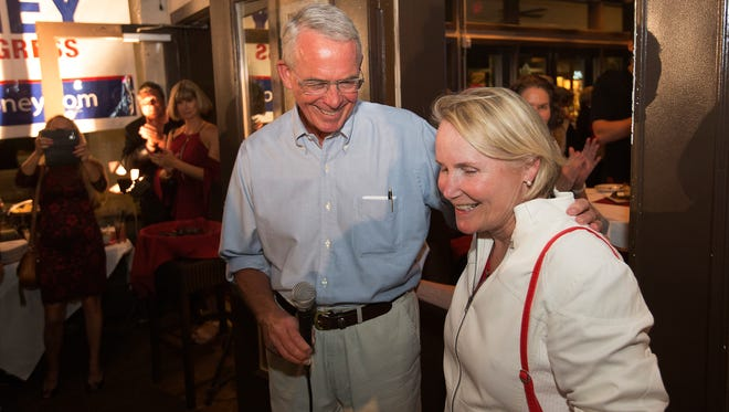Francis Rooney, with his wife, Kathleen, speaks at Bistro 41 in Fort Myers on Tuesday, Nov. 8, 2016, after being declared the winner in the U.S. House race against Robert Neeld.