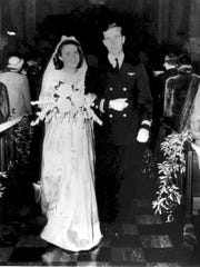 George and Barbara Bush at their wedding in Rye, New