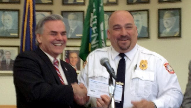 Ramapo Town Supervisor Christopher St. Lawrence and Deputy Fire Inspector Adam Peltz in 2012