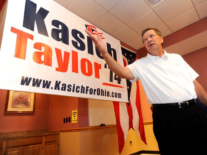 Governor John Kasich made a campaign stop in Piketon on Friday at Ritchie's Restaurant where he was greeted by supporters and took time to answer questions the attendee's had.