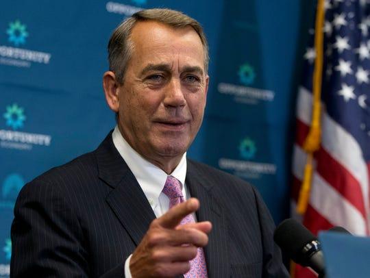Outgoing House Speaker John Boehner of Ohio acknowledges