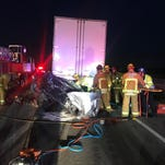 Firefighters free driver trapped in car after crash into semi outside Camarillo